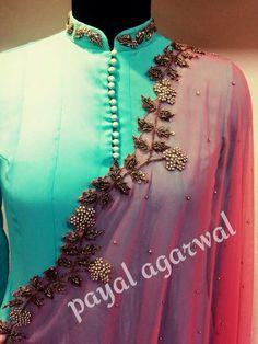Pastel colour combo anarkali with embroidery Indian Gowns, Indian Attire, Pakistani Dresses, Indian Wear, Ethnic Outfits, Indian Outfits, Kurta Designs, Blouse Designs, Sanha