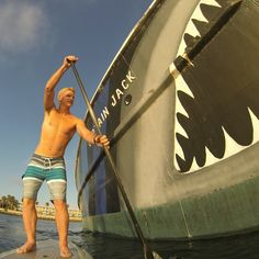 Fun SUP session in Redondo Beach King Harbor with this gigantic great white shark. Testing out new prototype mount. 12mp photo captured with GoPro HERO3® Order yours today starting at $199 from my Athlete affiliate link at renomakani.com