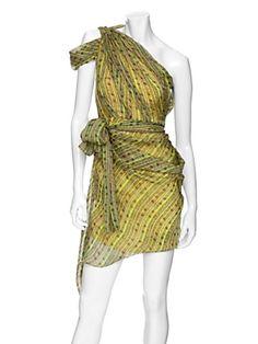 Matthew Williamson One Shoulder Asymmetric Print Dress