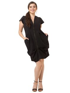 City Chic | Zip Front Tunic Dress In Black | Gwynnie Bee