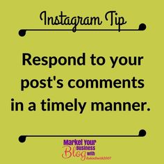 Instagram Tip: Respond to your comments in a timely manner. If you can respond immediately to the comments youre getting in the first hour of your post that helps Instagram realize that your post is pretty important due to all of the activity. Double Tap & TAG a friend if you like these valuable tips!   Want to learn more about building your business using Instagram? Or want to work closely with me? Click the link in my bio @RobinSmith2007 and join my community! Id  to see you in there…