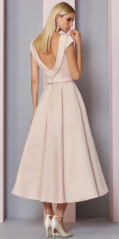Kleider Buy discount Fascinating Satin Portrait Neckline Tea-Length A-line Mother Of The Bride Dress Mob Dresses, Trendy Dresses, Modest Dresses, Elegant Dresses, Vintage Dresses, Beautiful Dresses, Nice Dresses, Fashion Dresses, Bridal Dresses