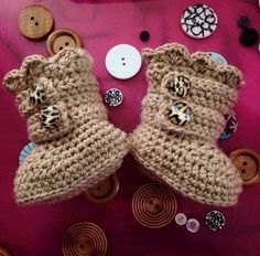 Crochet Baby Strap Boots by RibbonYarnGalore on Etsy