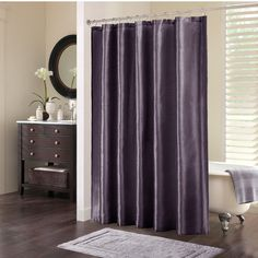 Bathroom: Ruffle Shower Curtain With Purple Curtain And Wooden ...