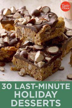 30 Last-Minute Holiday Desserts Peanut Butter Cookies, No Bake Cookies, Chocolate Chip Cookies, Fresh Apple Cake, Pecan Pie Bars, Chocolate Malt, Malted Milk, Poke Cakes, Strawberry Cakes
