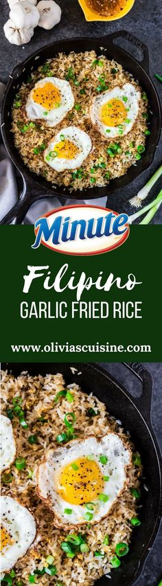 Filipino Garlic Fried Rice | http://www.oliviascuisine.com | Sinangag, or Garlic Fried Rice, is a popular Filipino breakfast, often served with a fried egg on top and a drizzle of vinegar sauce. Don't have a stomach for rice and garlic in the morning? No problem! This dish is also amazing for lunch or as a side for dinner. AD RiceMonthwithMinute /minutericeUS/