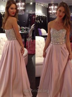 Cheap Long Prom Dresses,Sweetheart Formal Dresses, Crystal Detailing Silk-like Girls Party Dress,Satin Women Evening Gowns