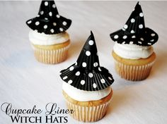 Use a polka dot or plain black cupcake liner to top your cupcakes with a witch hat