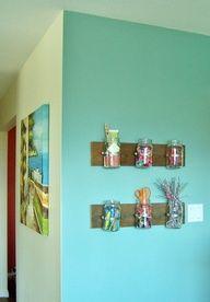 Small Mason Jars inside drawer to hold Q-tips, cotton balls Crafts With Glass Jars, Mason Jar Crafts, Mason Jar Diy, Cute Crafts, Diy Crafts For Kids, Craft Ideas, Diy Ideas, Decor Ideas, Mason Jar Garden
