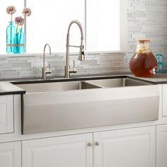 ariel 42 inch 60 40 offset double bowl stainless steel farmhouse rh pinterest com