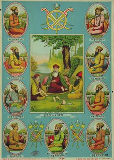 A rare and antique print of the Sikh Gurus