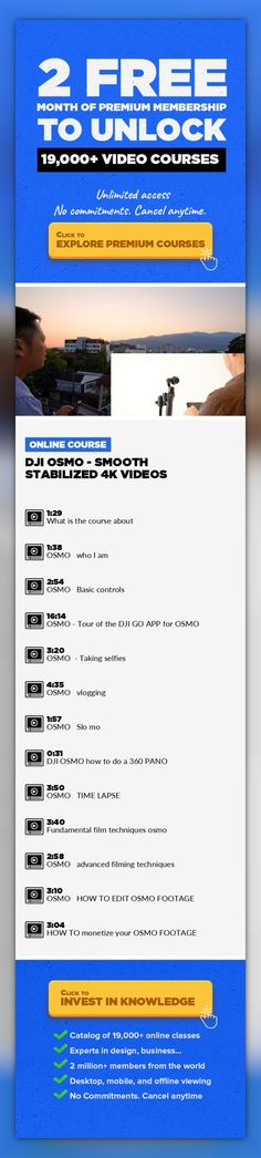 DJI OSMO - Smooth stabilized 4k videos  Photography, Video Production, Cinematography, Videography, Creative, Youtube, Video #onlinecourses #onlinelessonsstudent #onlinecollegefree   The DJI Osmo is an amazing powerful little camera that allows one to shoot amazing smooth and stabilized 4k videos and photos. It's developed by the known leader for drones and innovative products (DJI). This course t...