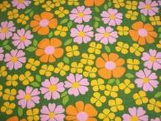 Beautiful colors and flowers in this vintage fabric