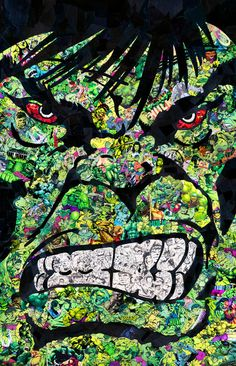 Mr Garcin - Mr Garcin's pop culture collages feature iconic cartoon and comic book characters. Whether depicting Marvel's 'Avengers', D. Hulk Marvel, Marvel Dc Comics, Ms Marvel, Marvel Art, Marvel Heroes, Captain Marvel, Comic Book Characters, Marvel Characters, Comic Character