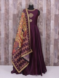 Shop Silk purple color anarkali suit for party online from India. Designer Anarkali, Designer Gowns, Western Outfits For Women, Clothes For Women, Anarkali Dress, Long Anarkali, Anarkali Suits, Punjabi Suits, Lehenga