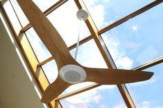 Haiku Ceiling Fans Haiku ceiling fan by Big Ass Fans in Caramel Bamboo with LED lighting in a living room setting. Residence of Robert J. #haiku #bigassfans