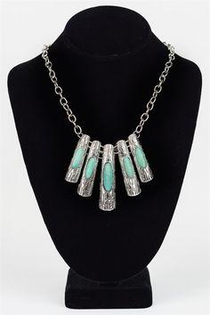5 peice turquoise pendant necklace. Lobster Clasp Closure. - 50% Turquoise 50% Zinc Alloy