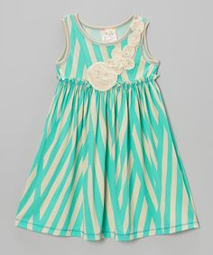Love this Mint Stripe Rosette Dress - Girls by Pink Vanilla on #zulily! #zulilyfinds