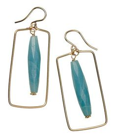 Nicholas Lane Earrings of Amazonite and Gold Fill $48