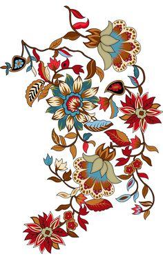 Folk Art Flowers, Flora Flowers, Anemone Flower, Botanical Flowers, Botanical Art, Flower Art, Gulab Flower, Textile Prints, Art Prints