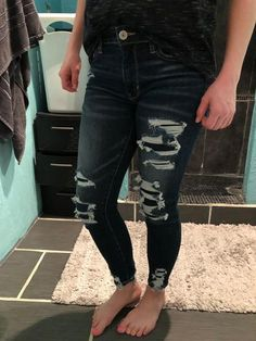 AE Ne(X)t Level High-Waisted Jegging Crop Cute Ripped Jeans, Ae Jeans, Slim Jeans, Cropped Jeans, Black Jeans, Low Rise Skinny Jeans, Mens Outfitters, Jeggings, American Eagle Outfitters
