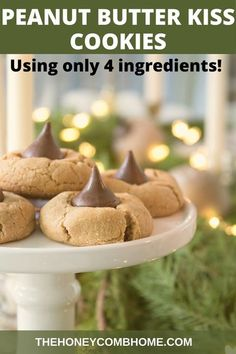 Vegetarian Gluten free · This is the BEST recipe for peanut butter kiss cookies, and it's the EASIEST using only 4 ingredients total! #cookies #christmas #easy