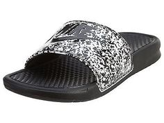 finest selection 3194d 8ee1c Nike Benassi Jdi Print Mens 631261-100 White Black Logo Slide Sandals Size  11 -
