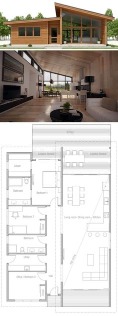 Small House Plan, Floor plan with three bedrooms, modern arc.- Small House Plan, Floor plan with three bedrooms, modern architecture - Layouts Casa, House Layouts, House Layout Plans, Small Floor Plans, Small House Plans, Modern House Floor Plans, Cheap House Plans, Home Design Plans, Plan Design