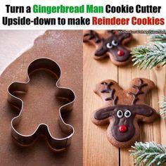 Best Christmas Cookie Recipe, Christmas Sugar Cookies, Holiday Cookies, Christmas Desserts, Christmas Treats, Christmas Baking, Xmas Food, Reindeer Gingerbread Cookies, Gingerbread Man Cookie Cutter