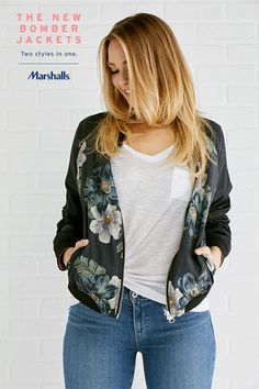 The reversible bomber jacket! From blush tones to blooms. This go-to layering piece look greats over anything, whether you're on the go in jeans and a tee or off to work in a flirty spring dress. Visit Marshalls today for the new bomber jackets you're gonna love!