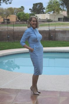 An Elegant Dress for the Lady on a Budget – Haute Business Blue Dresses, Compliments, Budgeting, High Neck Dress, Take That, Elegant, Business, Lady, Pretty