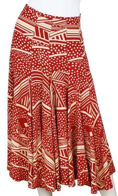 Biba 1970s Red & Ivory Skirt