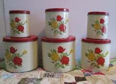 VTG 6 PC TIN CANISTER SET RED & CREAM w RED & YELLOW ROSES Red Canisters, Kitchen Canister Sets, Vintage Canisters, Vintage Tins, Vintage Stuff, Red Kitchen, Kitchen Stuff, Red And Yellow Roses, Spice Set