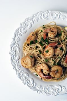 Shrimp and Scallop Scampi with Angel Hair Pasta  Seafood + Pasta = Heaven on a plate