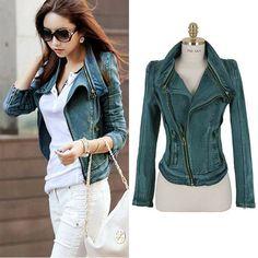 New Women Denim jean jacket Oblique ZIP slim top short motorcycle biker coat
