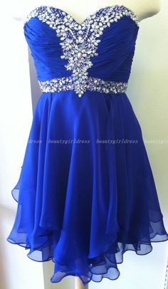 Royal blue homecoming dress,beading homecoming dresses,short prom dress from…