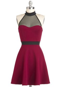 The Minneapolis Soundtrack Dress - Black, Cocktail, Mid-length, Sheer, Red, A-line, Halter, Party, Girls Night Out, Urban