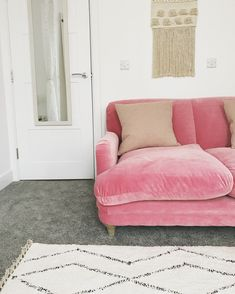 My beautiful loaf pink velvet sofa 💕 Pink Velvet Sofa, Pink Couch, Loaf Sofa, Guest Room Office, Chaise Sofa, Best Sofa, Love Seat, Lounge, Bohemian Living