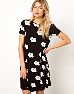 Image 1 of ASOS Swing Dress In Monochrome Flower Print With Short Sleeves