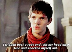 Merlin & Arthur + bad excuses (gif set) -- Bradley's face in the last one is PERFECT! HAHA!