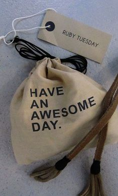Have an awesome day. (gift wrap) Bag by Sukha Amsterdam Bag Packaging, Jewelry Packaging, Packaging Design, Self Promo, Box Design, Fabric Painting, Canvas Leather, How To Memorize Things, Label