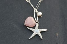 A sterling silver large link chain, fine silver starfish charm with rose glass heart and freshwater pearl necklace made using sterling silver findings. Freshwater Pearl Necklaces, Pearl Earrings, Drop Earrings, Starfish Ring, Clay Jewelry, Jewellery, Bridal Jewelry, Martha's Vineyard, Vineyard Wedding