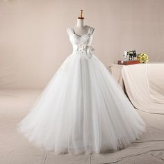 Sweetheart with tulle straps ball gown wedding dress