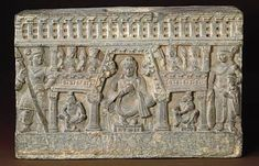 Le bodhisattva Maitreya dans le paradis Tushita - Afghanistan, Kapisa, monastère de Shotorak,Epoque Kouchane, IIIème-Vème siècle Schiste - 29,7 x 43,8 cm