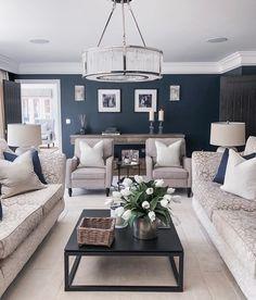 Cream Living Rooms, Blue Living Room Decor, Living Room Colors, New Living Room, Living Room Designs, Navy Blue And Grey Living Room, Cream Sofa Living Room Color Schemes, Blue Feature Wall Living Room, Formal Living Rooms