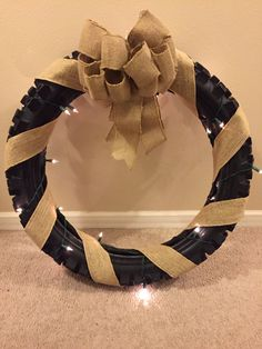 Wedding crafting has begun! Burlap Dirt Bike Tire Wreath for our moto wedding. ✊✊