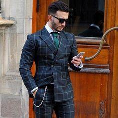 s suits, gq style, design layouts, brochure design, f Gq Style, Men Style Tips, Mode Masculine, Traje A Rigor, Plaid Suit, Pinstripe Suit, Plaid Jacket, Herren Outfit, Men's Suits