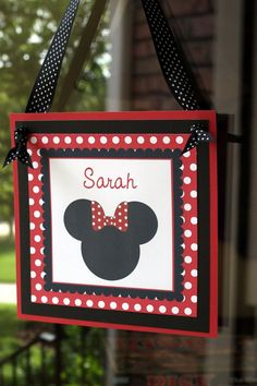 Red Black and White Minnie Mouse Silhouette by sweetbirdiesnest, $10.00