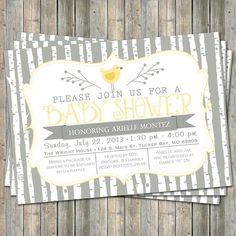 bird baby shower invitation, typography baby shower invitation with birch trees, digital, printable file (any colors) on Etsy, $13.00