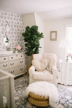 Vintage Folklore Nursery with Walls Need Love // Baby Girl Nursery Inspiration & nursery decor #nursery #ad #baby